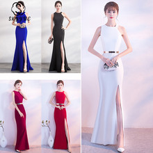 Skyyue Evening Dress O-neck Women Party Dresses Soild Elegant Side Zipper Robe De Soiree 2019 Sexy Split Gowns C148-DS1