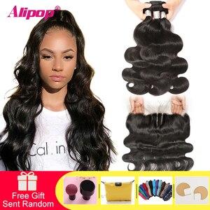 Image 1 - Alipop ผมบราซิล Body Wave ด้านหน้าลูกไม้ที่มีการรวมกลุ่ม Remy Human Hair ที่มีหน้าผาก 10 28 นิ้วชุดปิด