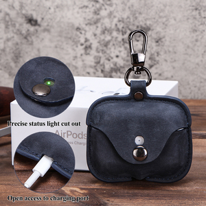 Image 2 - Genuine Leather Case For AirPods Pro coque Bluetooth Earphone Protective Cover Charging boite For Air pods 3 Pro Cases Keyring
