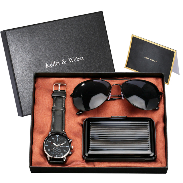 Fashion Men's Gift Set Quartz Watches Cool Sunglasses High Quality Credit Card Case/wallet