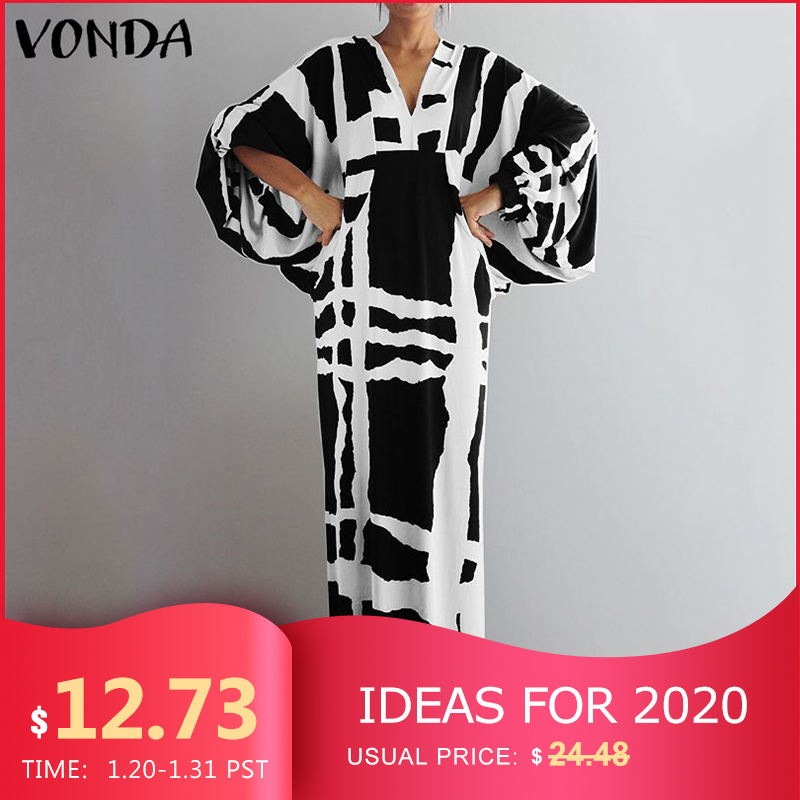VONDA Vintage Long Maxi Dress 2019 Autumn Sexy V Neck Long Sleeve Printed Dresses Femme Loose Sundress Casual Bohemian Vestidos