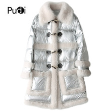 PUDI TX902 womens winter warm  parka jacket with Wool fur down coat lady bright silver color overcoat