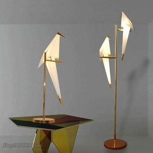 Image 4 - Vogel Papier Boden lampe Nordic gold boden licht Schlafzimmer wohnzimmer origami licht Studie Lesen tisch lampe Deco Leuchte