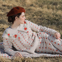 Autumn Winter New Original Design Women Mori Girls Vintage Floral Embroidery Knitted Pullover