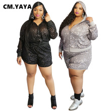 CM.YAYA Women Sequined Hoodies Two Pieces Sets Tracksuits Tee Tops Shorts Jogger Suit Sporty Fitness Night Club 2 Pcs Outfit