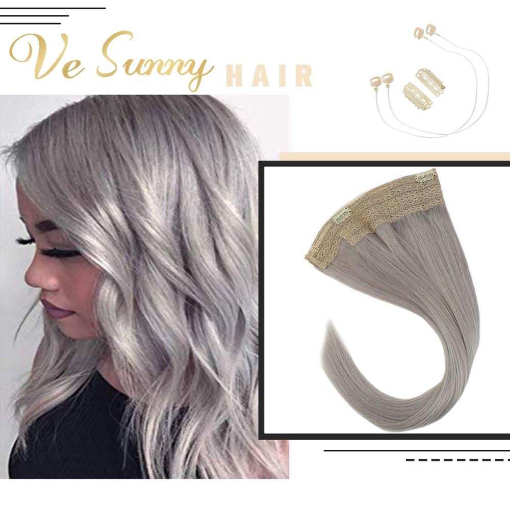 VeSunny One Piece Invisible Halo Hair Extensions 100% Real Human Hair Flip In Wire With 2 Clips On Machine Remy Hair Blonde Grey