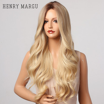 HENRY MARGU Long Wave Blonde Brown Ombre Wigs Synthetic Natural Wigs For Women Cosplay High Temperature Daily Hair Wigs emmor natural wave synthetic hair wigs for women high temperature cosplay costume party daily use ombre dark brown wig
