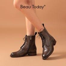 Beautoday/женские ботильоны из коровьей кожи; Модная женская