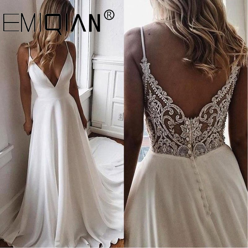 Long Chiffon Boho Beach Wedding Gown,Summer A Line Simple White Bride Wedding Dress, V Neck Bridal Party Dress,Vestido De Noiva