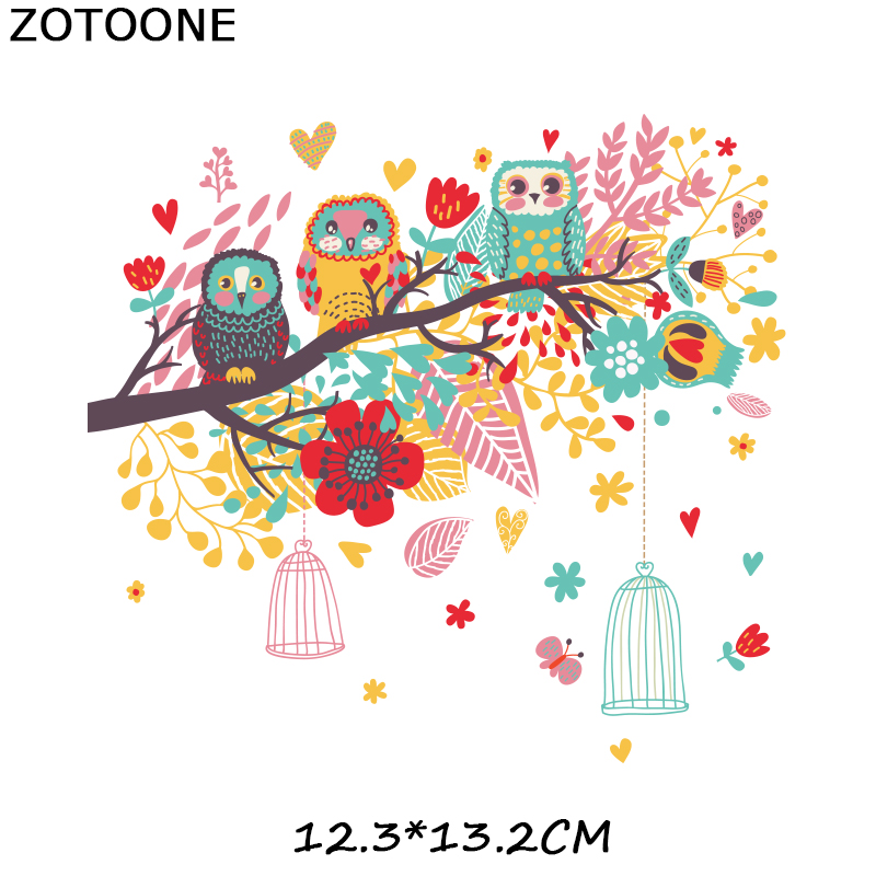 ZOTOONE Cute Owl Birds Stickers Animal Patches for Clothes T shirt Iron on Transfers Heat Transfer DIY Accessory Appliques G in Patches from Home Garden