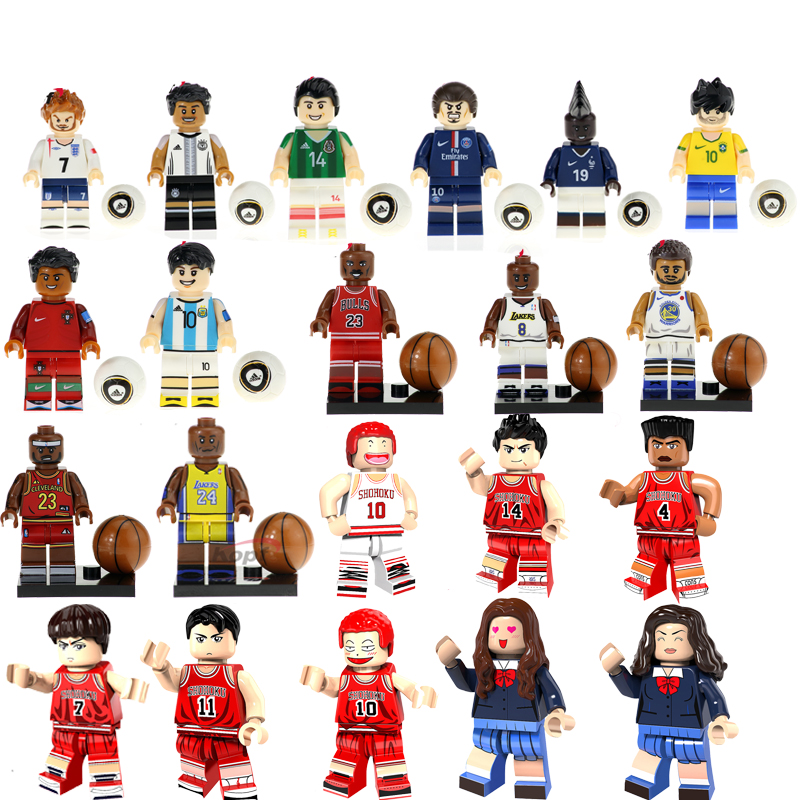 Bricks Toy Basketball Football Player Figures Labron Jame Curry Odel Beckham RonalCroatian Soccer Player Building Blocks Kid Toy