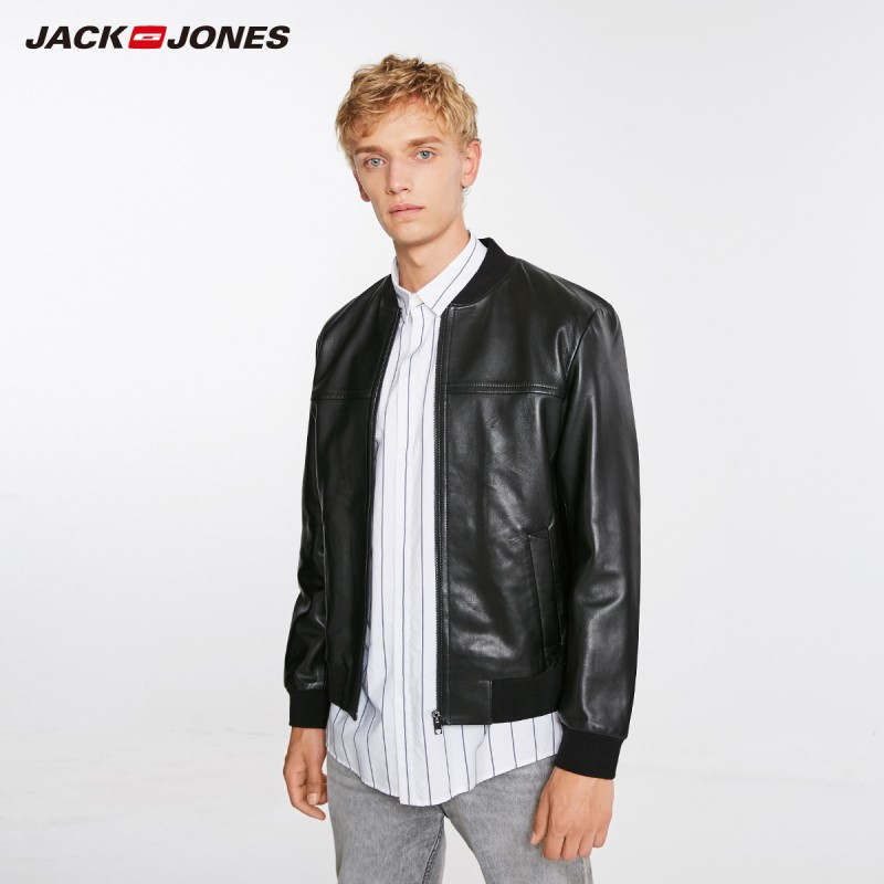 JackJones Winter mannen Mode Schapenvacht Lederen Jas Honkbal Kraag Leren Jas Menswear 218410501-in Echt ledere jassen van Mannenkleding op  Groep 1