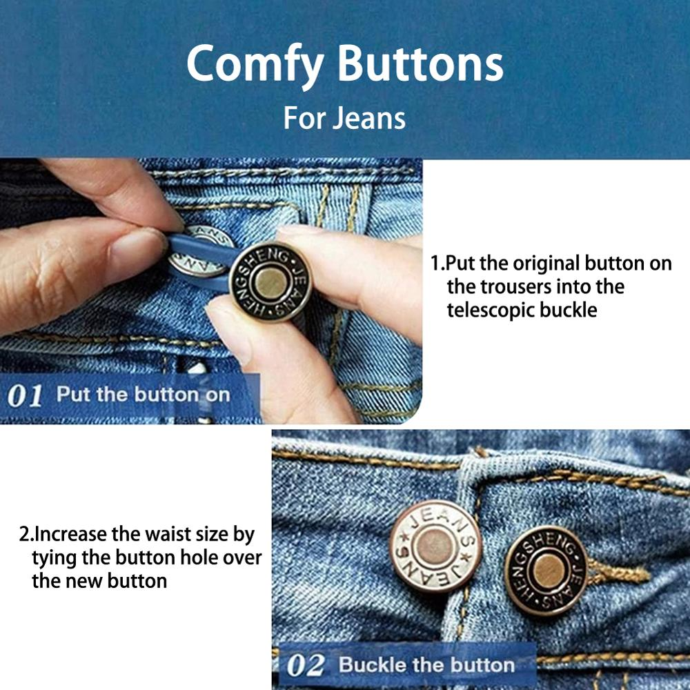 10 PCS Jean Retractable Button Adjustable Detachable Extended Regular  PantsJeans Skirts Garment Hooks  - AliExpress