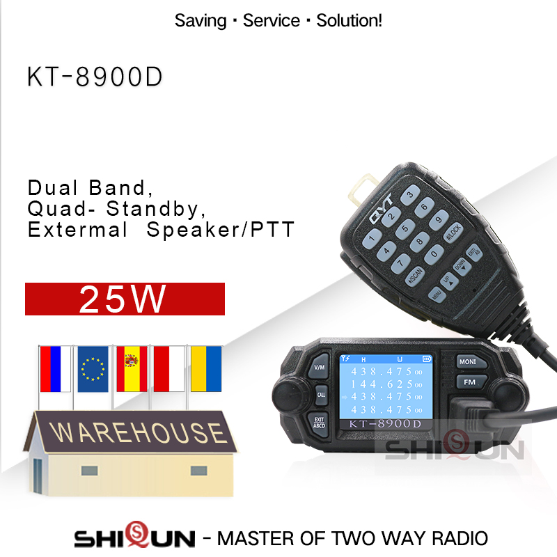 Mobile Transceiver Walkie-Talkie QYT KT-7900D Quad-Band Amateur Mini Car 10km 25W 350/440MHZ