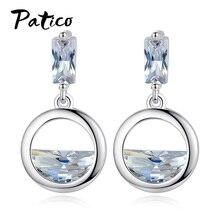 цена на New 925 Sterling Silver Cubic Zirconia Drop Earings For Women Circle  Fashion Jewelry Statement Piercing Geometric Ear Rings