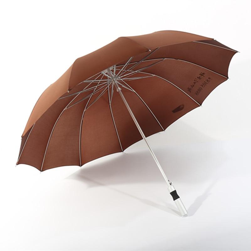 Creative 12 Bone Aluminium Alloy Business Umbrella 12K Aluminium Alloy Tension Spring Advertising Umbrella Fiber Anti-Rust Strai
