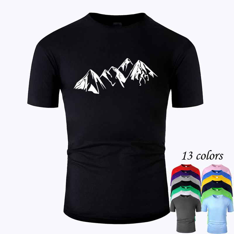 Mountain Line Art O Neck Cotton T Shirt Men And Woman Unisex Summer Short Sleeve Designed Casual Tee M01037