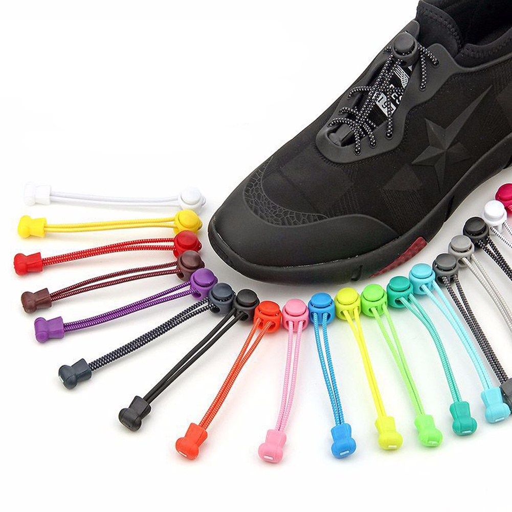 1Pair Colorful No Tie Shoelaces Round Locking Elastic Shoe Laces Women Men Quick Lazy Shoe Lace Sneakers Shoe Laces String 100cm