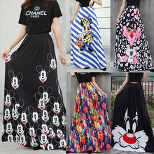 Fashion Mickey Maxi Long Skirt Women 2020 Striped Long Elastic High Waist Kawaii