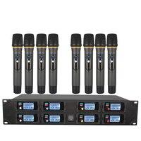 Profissional sistema de microfone sem fio uhf 8 canais freqüência fixa dinâmico exibição ktv conferência vocal microfone