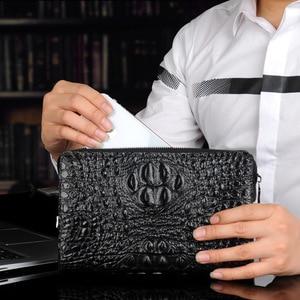 Image 4 - رجل محفظة جلدية حقيقية التمساح رجل حقيبة صغيرة مصمم الأعمال الذكور الهاتف محفظة جلد البقر carteras hombre billeteras