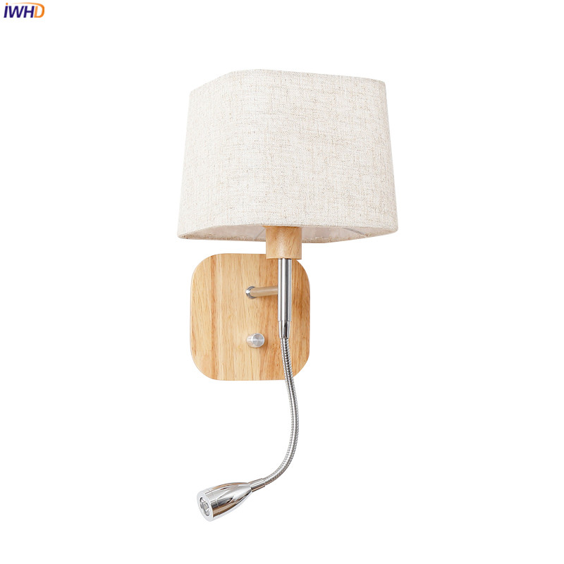 IWHD Modern <font><b>Nordic</b></font> <font><b>Wood</b></font> <font><b>Wall</b></font> <font><b>Lamp</b></font> With Switch Bedroom Stair Light Fabric Wooden <font><b>Wall</b></font> Lights Fixtures LED Luminaire Wandlamp image