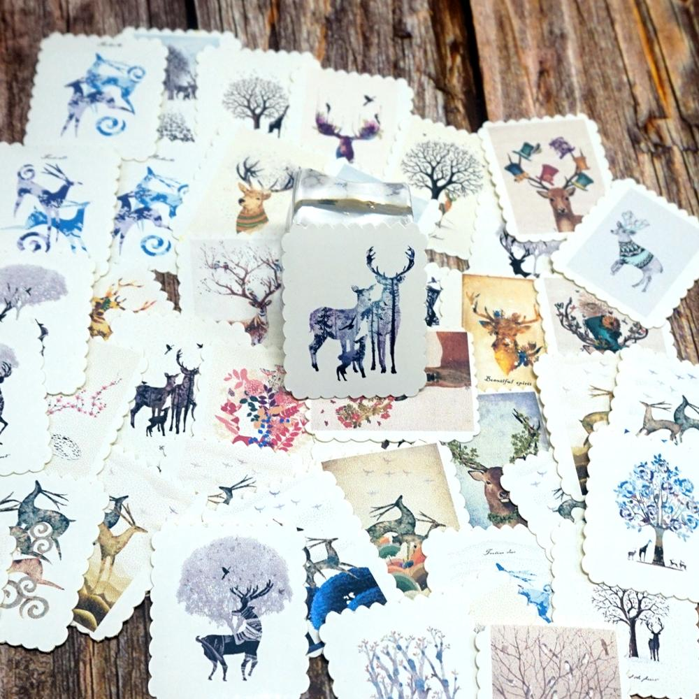 42PCS Cute Animals Stickers DIY Diary Decoration Sticker Lovely Deer Stickers Gift For Student Boys Girls Children Kids