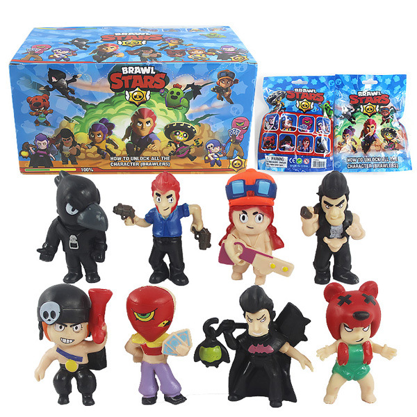 US $0 73 19% OFF|Random Brawl Stars Figure Toys Poco Shelly Nita Colt  Jessie Brock El primo Mortis Crow Brawl Stars Figures With Card Figurine-in