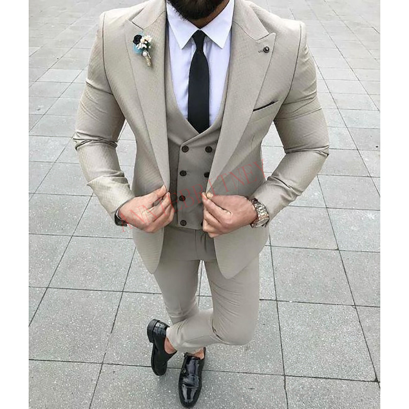 2020 Designers Fashion Men Suit Slim Fit Prom Wedding Suits for Men Groom Tuxedo Jacket Pants Set White Gray Casual Man Blazer 1