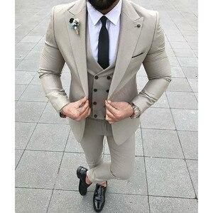2020 Designers Fashion Men Suit Slim Fit Prom Wedding Suits for Men Groom Tuxedo Jacket Pants Set White Gray Casual Man Blazer