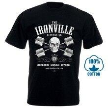 Novelty Tee Shirts Men Gildan Short Sleeve Funny Design Ironville Heavy Iron Outlaw Skull Barbells Powerlifting T Shirt