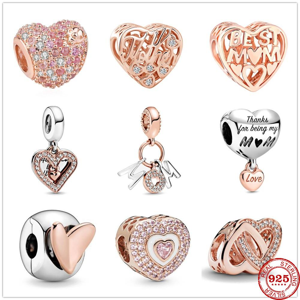 925 Sterling Silver Mum Letters Dangle Charm Freehand Heart Clip Beads Fit Original Pandora Charms silver 925 Bracelet Jewelry(China)