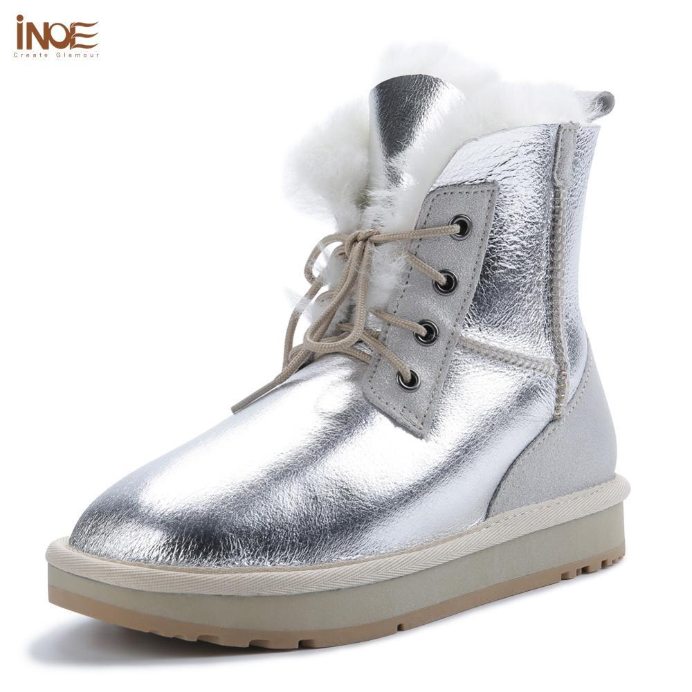 INOE Women Short Ankle Casual Winter Boots Sheepskin Leather Shearling Wool Fur Lined Snow Boots For Women Warm Shoes Waterproof