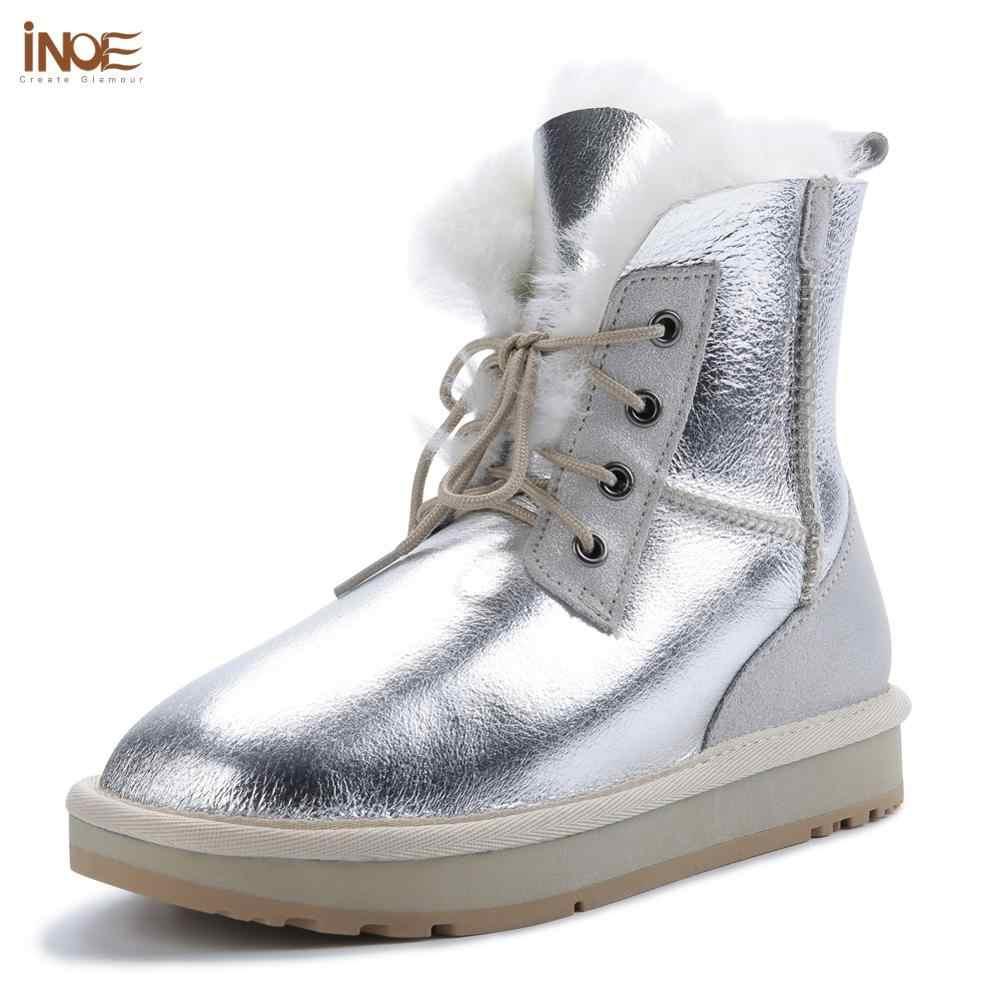 INOE kadın kısa ayak bileği rahat kışlık botlar koyun derisi deri Shearling yün kürk astarlı kadınlar için kar botları sıcak ayakkabı su geçirmez