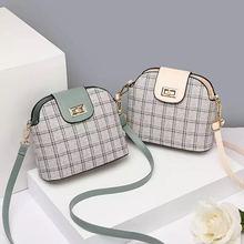 2021 New All Match Fashion Ladies Shoulder Bag Plaid Hasp Leather Crossbody Bag Korean Women's Casual Shell Bag