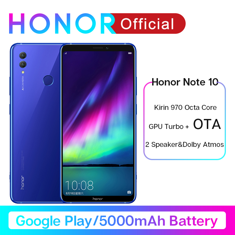 Original Honor Note 10 Google Play Smartphone Kirin 970 Octa Core 6.95 Inch 24MP+16MP AI Cameras 5000mAh Moblie Phone Android