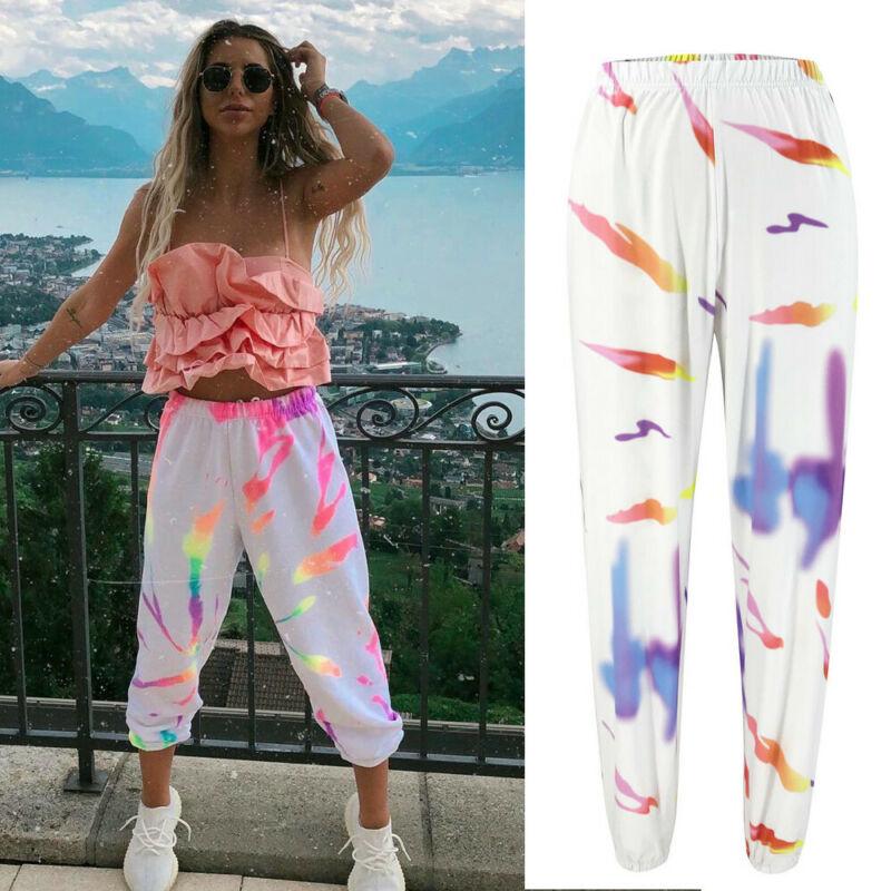 Women Long Pants Hip Hop Trousers For Women Colorful Print Long Pants Lady High Waist Harem Pants White Casual Hippie Trousers