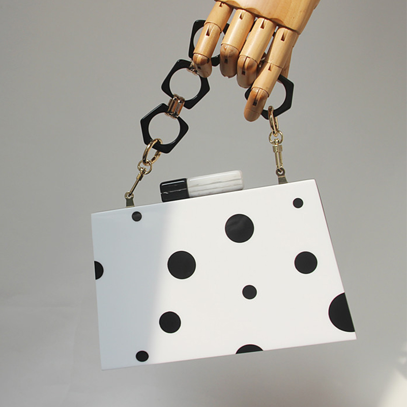 Luxy Moon Women Clutch Bags With Acrylic Handle Black And White Dots Shoulder Bags Wedding Clutch Purse Ladies Hand Bag ZD1518