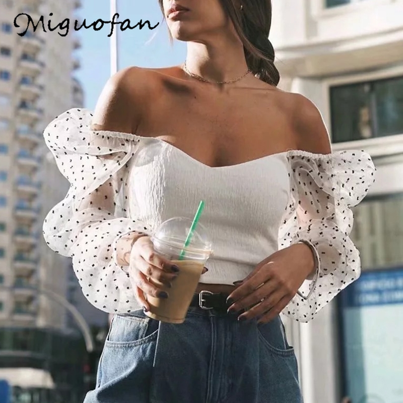 Miguofan Dots Pritting Blouse Shirts Transparent Puff Long Sleeve Women Blouse Shirts Sexy V Neck Vintage Female Tops Blouse New