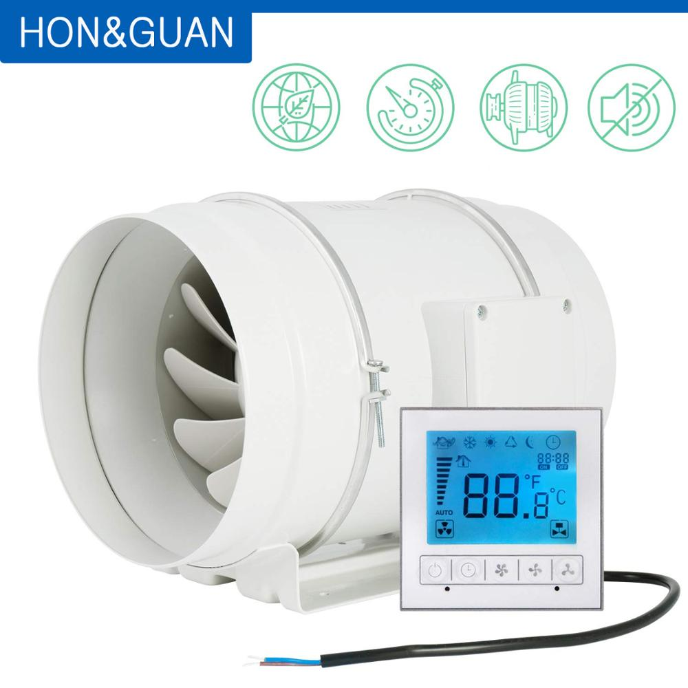 Hon&Guan 8 Inch Timer Extractor Inline Duct Fan With Smart Controller For Bathroom Ventilation Fan; HF-200PMZC
