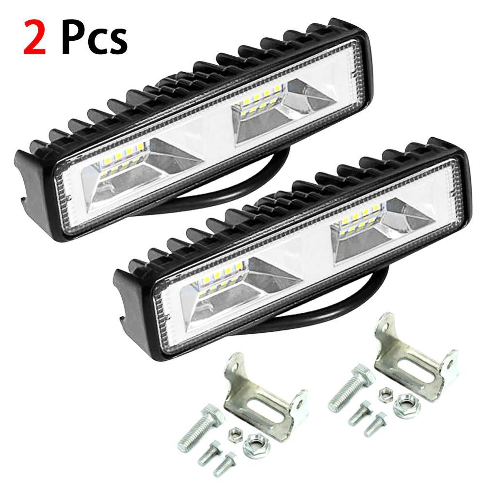 2x 48W 12V 16 LED Work Light Spot Beam Bar Car SUV Off-Road Driving Fog Lamp New