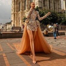 Роскошные Короткие Выпускные платья с бусинами со съемным шлейфом