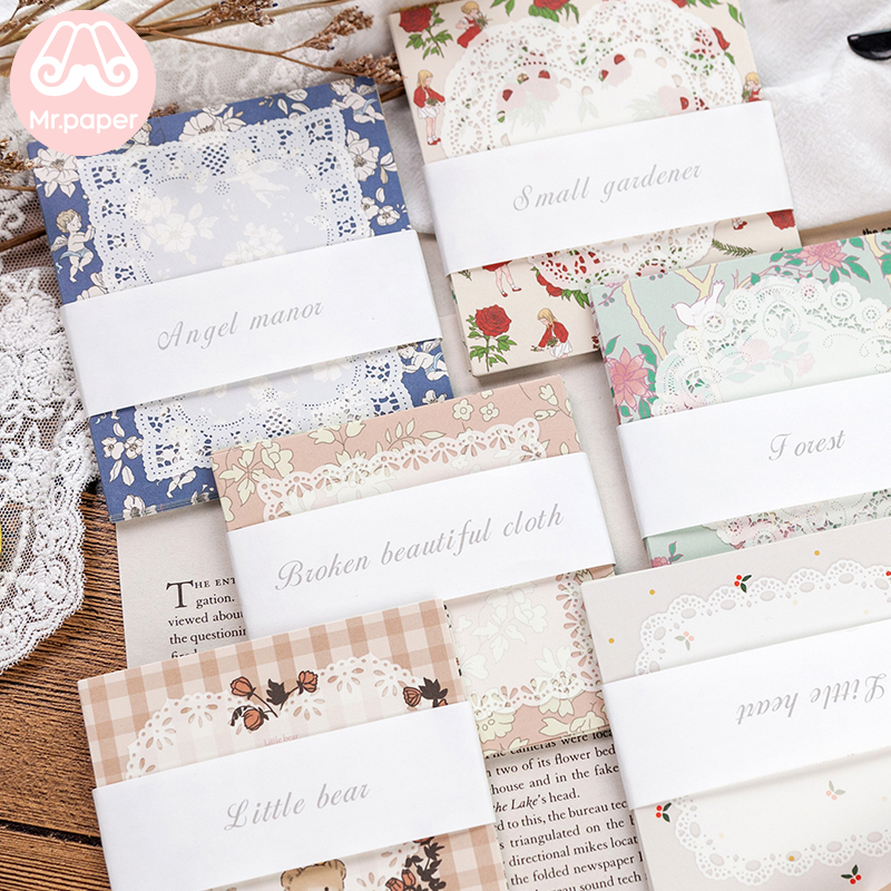 Mr.paper 6 Designs 30Pcs/lot Kawaii Fairy Tale Teddy Bear Bed Time Story Loose Leaf Bullet Journal White Lace Paper Memo Pads