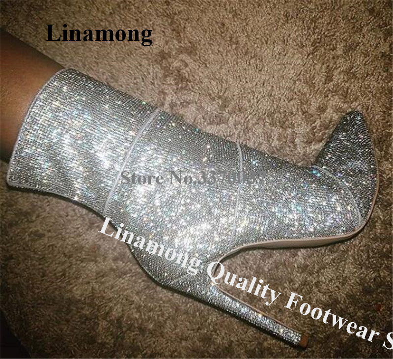 Linamong Bling Bling Shining Pointed Toe Rhinestone Stiletto Heel Short Boots Silver Crystal Ankle Booties Wedding Dress Heels