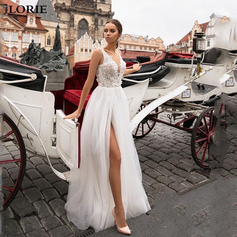 LORIE New Boho Wedding Dress  A-Line Appliqued Lace Wedding Dress V-neck High Side Split Princess Bride Dress Vestido De Noiva