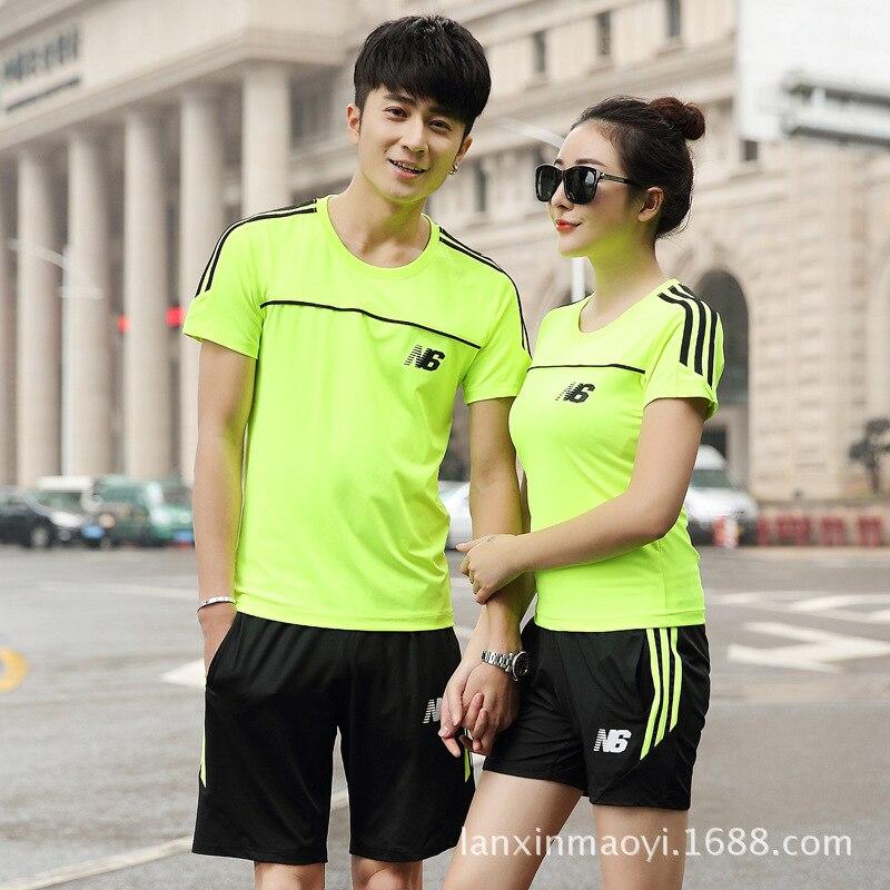 Sports Set Men's Summer Short-sleeved MEN'S Sportswear Sports Leisure Suit WOMEN'S Short Sleeved Couples Sports Set