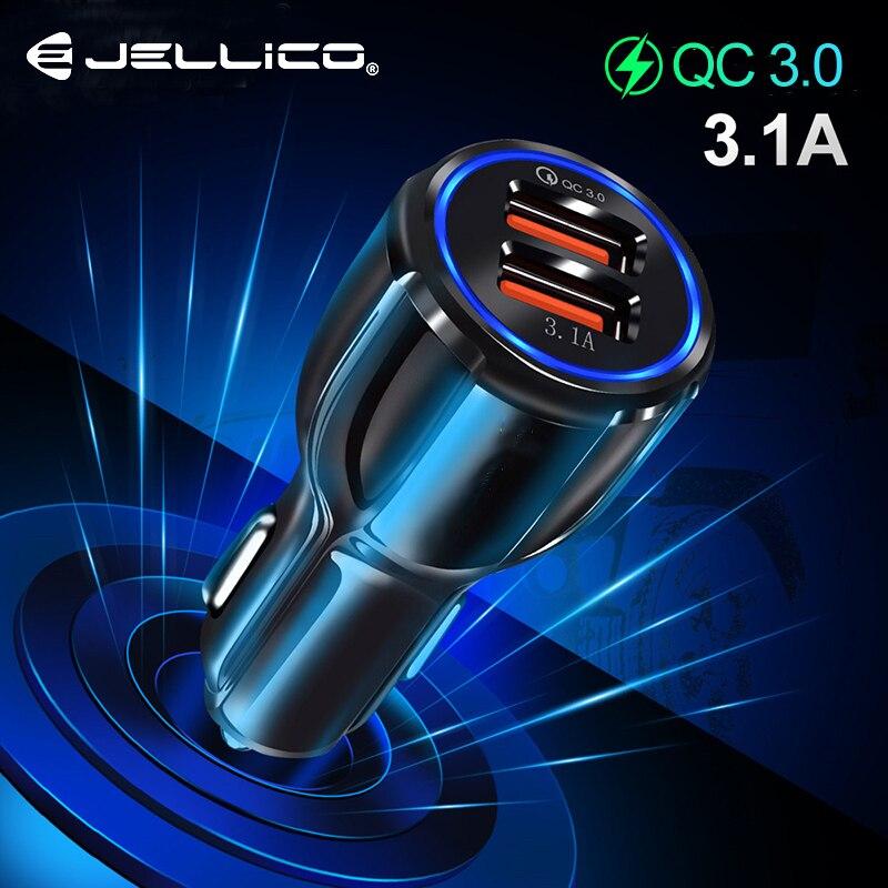 Jellico Carregador de Carga Rápida 3.0 Carregador Do Telefone Móvel Do Carro Dual USB QC3.0 Rápido Carregador de Carro para o iphone Samsung Tablet Carro -carregador