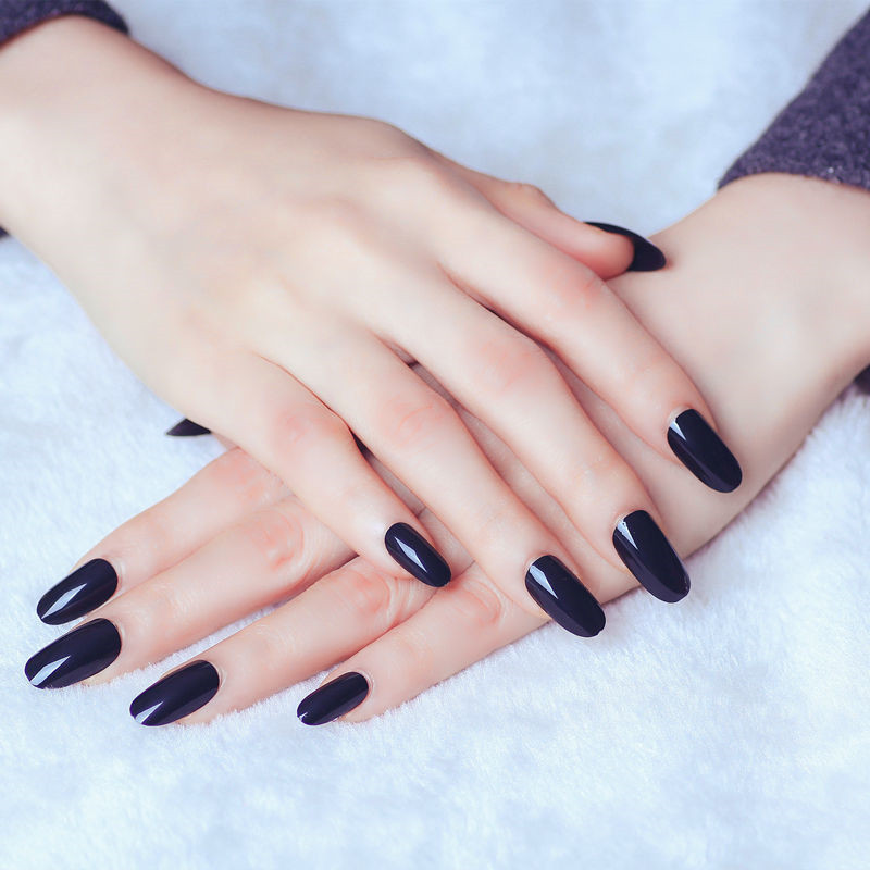 Solid Color Jet Black Fake Nails Patch Simple Mid-length Glue Style Manicure Patch Nail Sticker Wholesale AL230