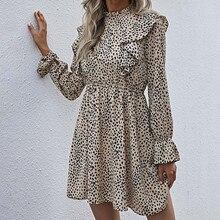 Chiffon-Dresses Flare-Sleeve Leopard Vestido Loose Casual Women Holiday Printed Ruffle