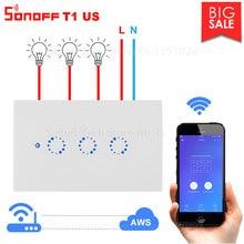 Itead Sonoff T1 US WiFiสวิตช์ผนังไร้สายรีเลย์ 315MHz RF/TOUCH/APPควบคุมสมาร์ทสวิทช์ทำงานร่วมกับAlexa Google Home